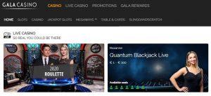 Análisis de los mejores juegos en directo de Gala Casino