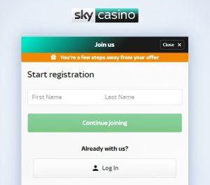 Cómo registrarse en Sky Casino online