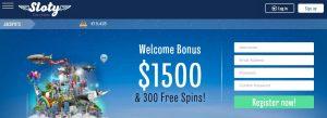 Bono de bienvenida de Sloty casino online