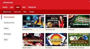Juegos Disponibles en Sportium Casino