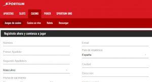 Cómo registrarse en Sportium casino online