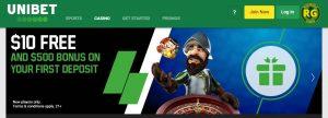 Bono de bienvenida del casino Unibet