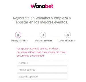 Cómo registrarse en Wanabet casino online