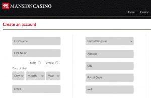 Cómo registrarse en Mansión Casino Online