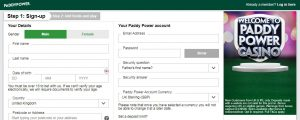 Cómo registrarse en Paddy Power Casino Online